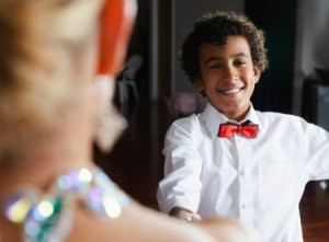 A boy at a formal dance.