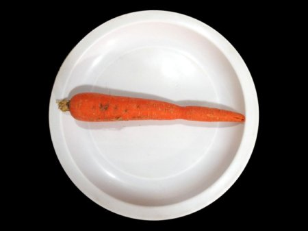 A washed carrot, ready for scraping.