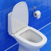 White toilet against blue tile floor and wall