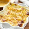 Scalloped potatoes in a casserole dish