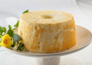 An angel food cake made with cake flour.