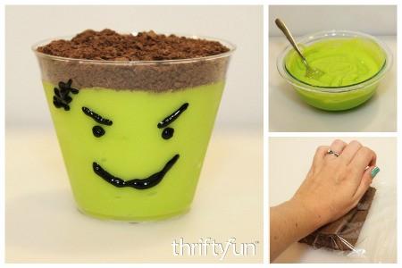 Making Frankenstein Pudding Cups