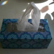 A empty tissue box being reused to store plastic bags.
