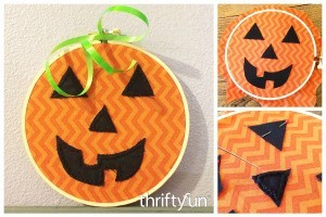 Making an Embroidery Hoop Jack-O'-Lantern