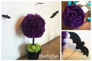 Making a Halloween Pom Pom Topiary