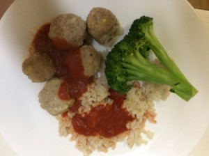 Gluten-Free Meatballs meatballs on plate with rice and broccoli