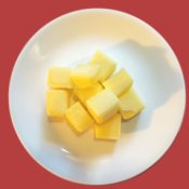 Cubes of clarified butter.