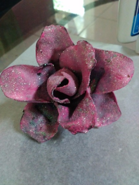 glittery mauve painted plastic spoon flower