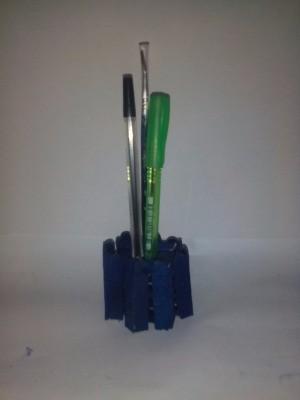 dark blue mini Popsicle stick pen holder