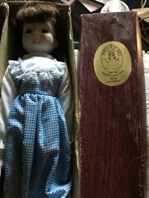doll wearing a gingham dress in a box