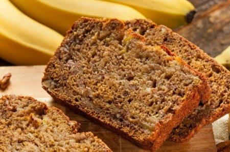 Slices of homemade banana bread.