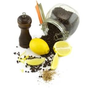 Ingredients for lemon pepper seasoning.