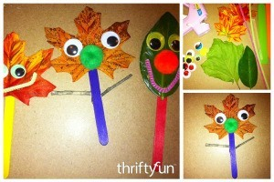 Leaf Stick Puppets