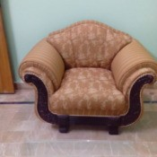 large neutral upholstered chair
