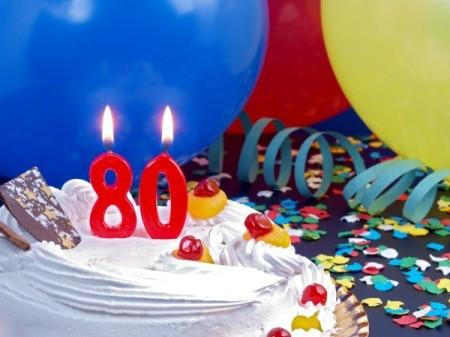 A birthday cake to celebrate an 80th birthday.