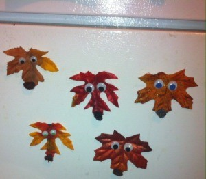 fox faces made from faux leaves
