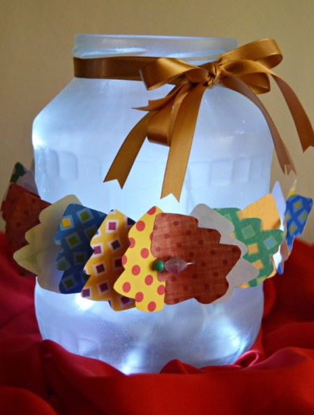 finished frosted jar decorated with paper trees