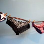 fancy feminine underwear hung as bunting