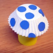 yellow paper tube and blue polka dot mushroom kid craft