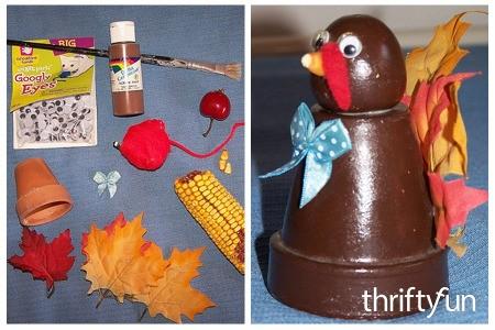 Making a Flower Pot Turkey Centerpiece