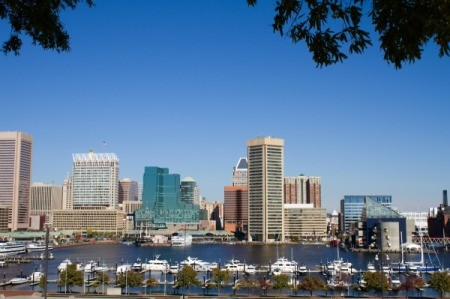 The skyline of Baltimore during the day.