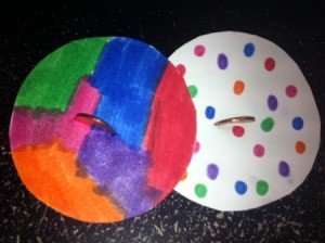 multicolor and polka dot spinners