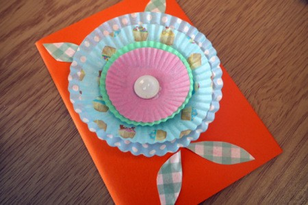 Cake Case (Muffin Cup) Flower Greetings Card