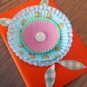 muffin cup flower greeting card