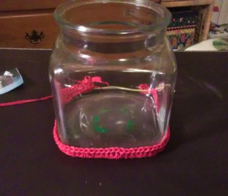 Crochet Covered Candy Jar