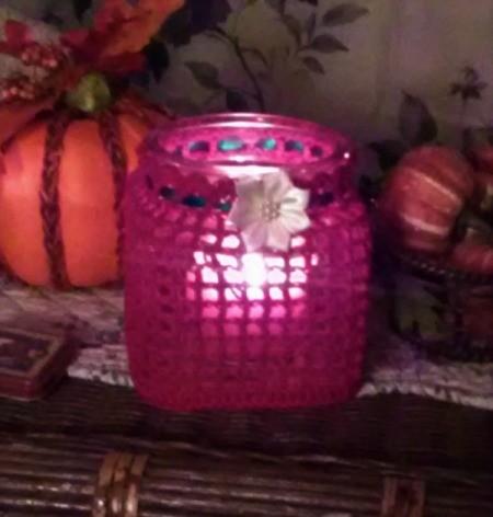 lighted crochet covered jar