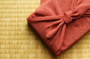 A package wrapped with Furoshiki, or Japanese wrapping cloths