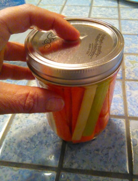 A canning jar with cut up carrots and celery with a lid.