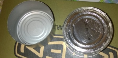 Two empty tuna cans.