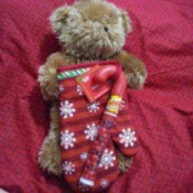 A bear inside an oven mitt with a red and snowflake pattern.