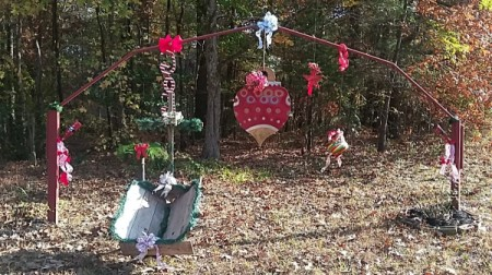 decorations for Christmas on garden arbor
