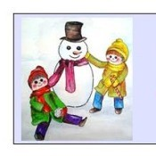 snowman and children gift tag