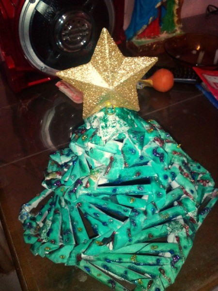 table top rolled newspaper Christmas tree