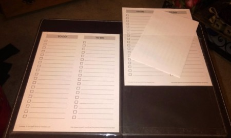 To-do lists inside sheet protectors.