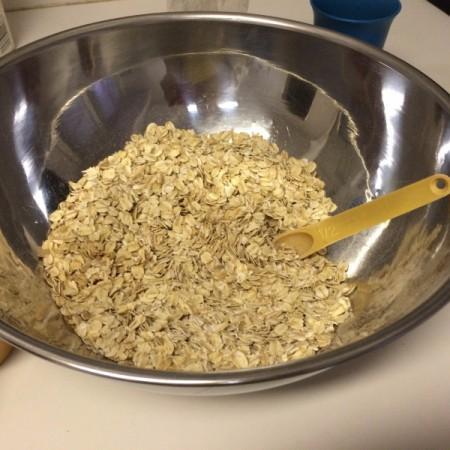 dry ingredients in pan