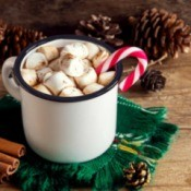 A hot cocoa with marshmallows and a candy cane stirrer.