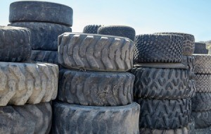 A stack of tires at a disposal facility.