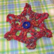 Crochet Snowflake from Recycled Skirt