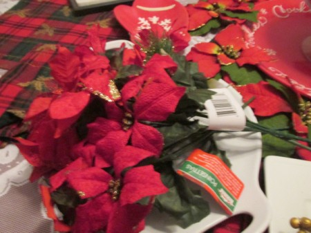 Artificial poinsettia to use for decorating.