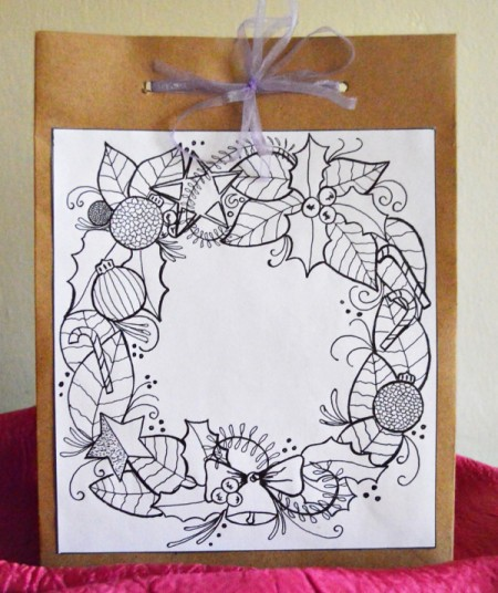 coloring page attached to gift bag