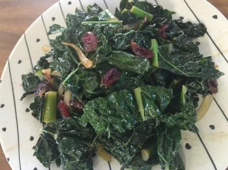 Cranberry orange kale on plate