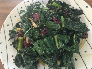 Cranberry orange kale on plate