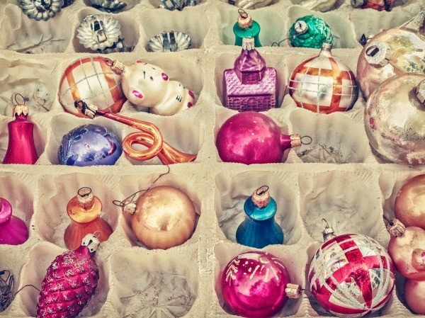 a box of old christmas ornaments - Old Christmas Decorations