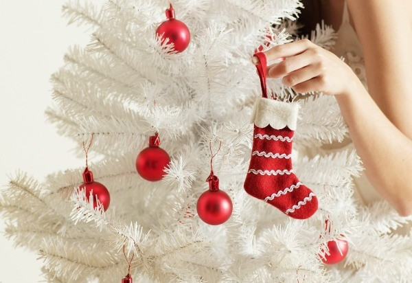 a white artificial christmas tree with red ornaments - Red Artificial Christmas Tree