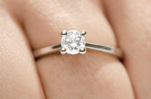 A diamond solitaire ring on a hand.