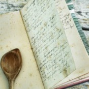 A handwritten recipe in a bound cookbook.